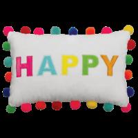 Iscream Happy Pom-Pom Fleece Rectangle Pillow