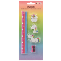 Iscream Unicorn Pencil Set (3 pencils, 3 erasers, 1 sharpener)