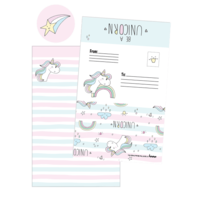 Iscream Unicorn Stripes Foldover Cards