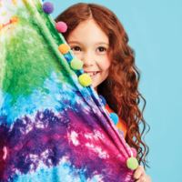 Iscream Rainbow Tie Dye Round Plush Blanket with Pom-Poms