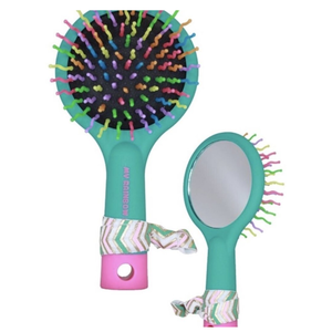 American Jewel Rainbow Brush with Mirror (Teal with Pink Bottom)