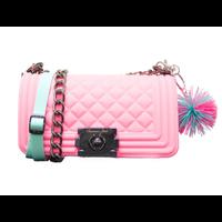 American Jewel Pink Danielle Boy Bag - Yummy Gummy Silicone Purse with Chain *Pom Pom Keychain Sold Separately*