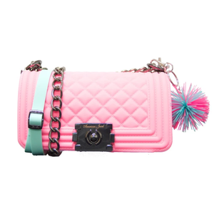 American Jewel Pink Danielle Boy Bag - Yummy Gummy Silicone Purse with Chain & Pom Pom Keychain!