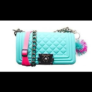 American Jewel Aqua & Hot Pink Danielle Boy Bag - Yummy Gummy Silicone Purse with Chain & Pom Pom Keychain!