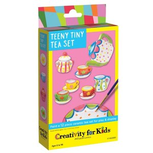 Faber-Castell Paint your own - Teeny Tiny Tea Set (12 piece ceramic tea set for play and display)