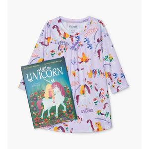 Hatley Uni the Unicorn - Night Dress/Nightgown + Book (Purple) -