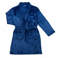 Candy Pink Fleece Robe - Navy Blue -