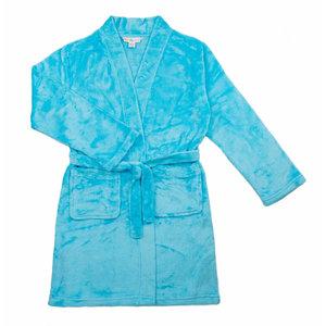 Candy Pink Fleece Robe - Aqua Blue