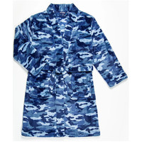 Candy Pink Fleece Robe - Navy Blue Camo -