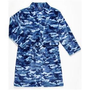 Candy Pink Fleece Robe - Navy Blue Camo -