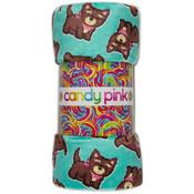 Candy Pink Fleece Plush Blanket - Bandana Dog