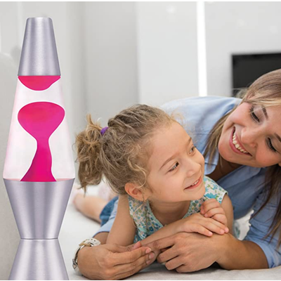 Schylling 11.5'' Lava Lamp - Pink Lava, Clear Liquid, Silver Base