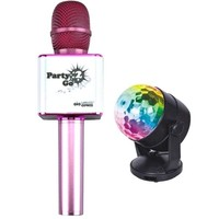 Wireless Express Party 2 Go - Bluetooth Karaoke Microphone and Disco Ball Combo - Pink