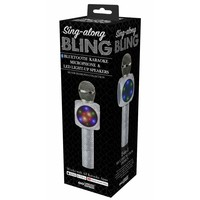 Wireless Express Sing-Along BLING Bluetooth Karaoke Microphone & LED Light-Up Speakers (Silver Diamond Collection) - Works with ALL Karaoke Apps!