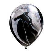 "burton + BURTON 11"" Latex - Qualatex  Balloon - Black/White Marble Superagate (with .50 cf of helium) Qualatex 43805"