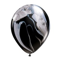 "burton + BURTON 11"" Latex - Qualatex  Balloon - Black/White Marble Superagate (with .50 cf of helium) Qualatex 43805"