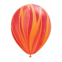 "burton + BURTON 11"" Latex - Qualatex  Balloon - Red/Orange Marble Superagate"