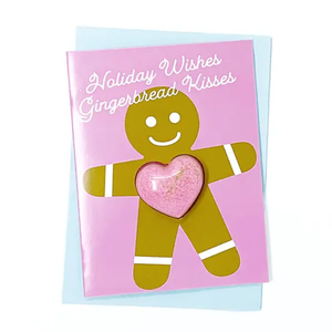 Feeling Smitten Holiday Wishes Gingerbread Kisses Bath Bomb Holiday Card