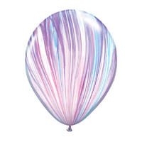 "burton + BURTON 11"" Latex - Qualatex  Balloon - Purple/Blue/White Marble Fashion Superagate (with helium)"