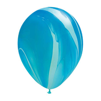"burton + BURTON 11"" Latex -  Qualatex Balloon - Blue Rainbow Marble Superagate (with helium)"