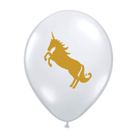 "burton + BURTON 11"" Latex -  Balloon - Gold Unicorn on Clear Balloon (with helium)"