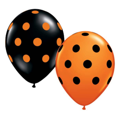 "burton + BURTON 11"" Latex - Black and Orange Polka Dots (with helium)"
