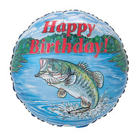 "burton + BURTON 17"" inch - Foil Balloon - Happy Birthday Bass Fish (with .5 cf of helium) Burton + Burton A6457-18"