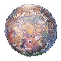 "burton + BURTON 17"" inch - Foil Balloon Round - Happy Birthday Deer Hunt (with .5 cf of helium) Burton & Burton A6626-18"