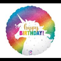 "burton + BURTON 18"" - Foil Round Balloon -Holographic Glitter Unicorn Happy Birthday (with .5 cf of helium)"