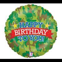 "burton + BURTON 18"" - Foil Balloon - Camo Happy Birthday (with helium)"