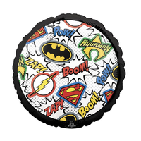 "burton + BURTON 17"" - Foil Balloon - Justice League Logo and Comic Book Strip Quotes (with helium)"