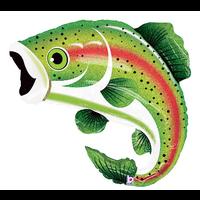 "burton + BURTON 29"" - Foil Balloon Shape - Rainbow Trout Fish (with helium) Betallic Holographic 85655"