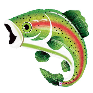 "burton + BURTON 29"" - Foil Balloon Shape - Rainbow Trout Fish (with helium) Betallic Holographic 85655"