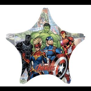 "burton + BURTON 28"" - Foil Balloon - Marvel Avengers Captain America, Hulk, Black Panther, Ironman on Star Shape (with helium)"