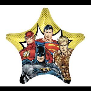 "burton + BURTON 28"" - Foil Balloon - Justice League - Batman, Superman, Flash on Star Shape (with helium)"