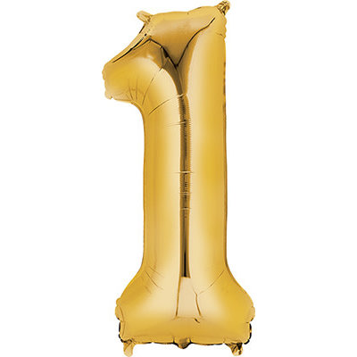 Balloons.com 34 Inch - Number 1 - Gold Balloon (with helium)