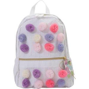 Nikiani Seersucker Mini Backpack - Pastel Poms