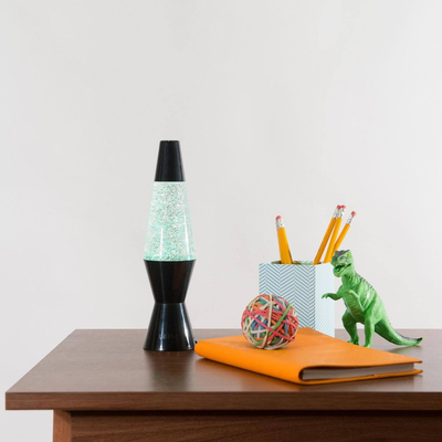 """Schylling 10"""" Vortex Lava Lamp  - Swirling Glitter in Black Base (Battery Operated)"""
