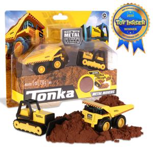 Schylling Tonka Metal Movers - Construction Vehicles (2-Pack with Tonka Tough Dirt!) - Mighty Dump Truck + Bulldozer
