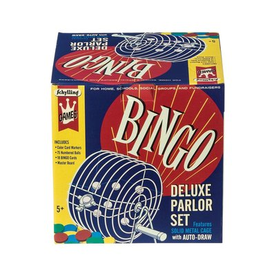 Schylling Bingo Game - Deluxe Parlor Set with Solid Metal Cage with Auto-Draw