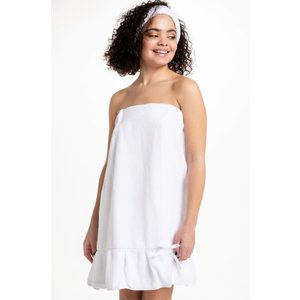 Bella iL Fiore Spa Towel Wrap with Ruffle - White (Fits Sizes 0-10)