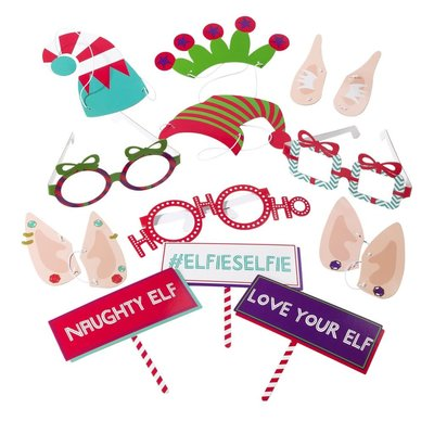 Talking Tables Christmas Entertainment - Elfie Selfie Photo Booth with 31 Props & Scene Setter