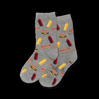 Hot Sox (Youth) BBQ Socks - Grey