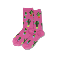Hot Sox (Womens) Potted Cactus Socks - Pink
