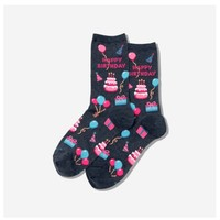 Hot Sox (Womens) Happy Birthday Socks - Denim