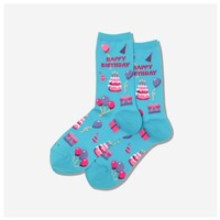 Hot Sox (Womens) Happy Birthday Socks - Light Blue