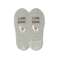 Hot Sox (Womens) Llama Drama No Show Socks - Grey