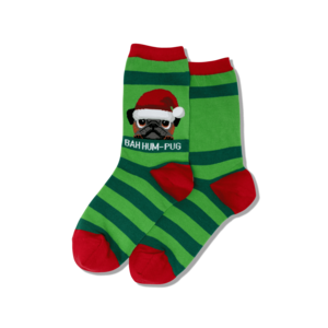 Hot Sox (Womens) Bah Humpug Dog Christmas Socks- Green