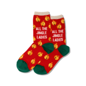 Hot Sox (Womens) All the Jingle Ladies Socks - Red