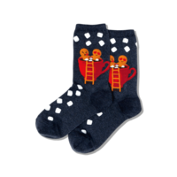 Hot Sox (Womens) Gingerbread Couple Socks - Denim